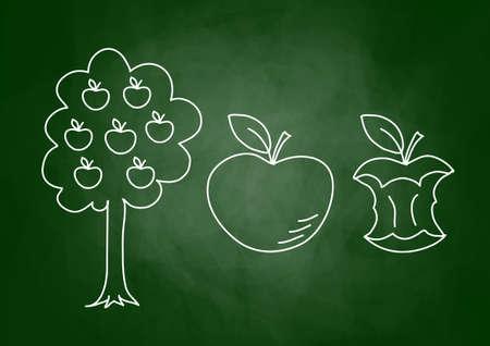 appletree: Drawing of apple on blackboard Illustration