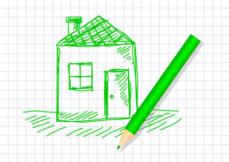 Drawing of house on squared paper Vector