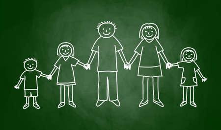 Drawing of family on blackboard Illustration