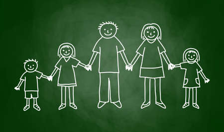 Dibujo de familia en la pizarra