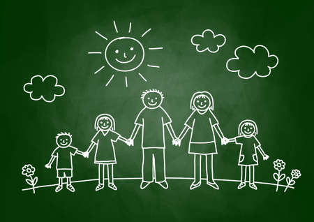 happy kids: Drawing of family on blackboard Illustration