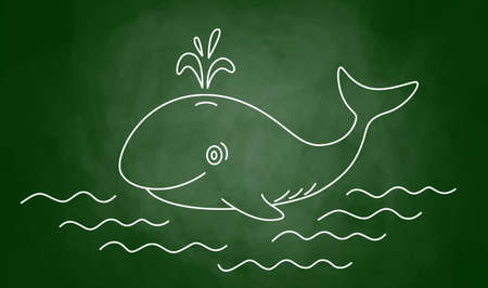 Drawing of  whale on blackboard      Vector