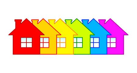 Hilera de casas Ilustración de vector