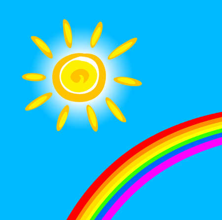 Sun and rainbow Vector