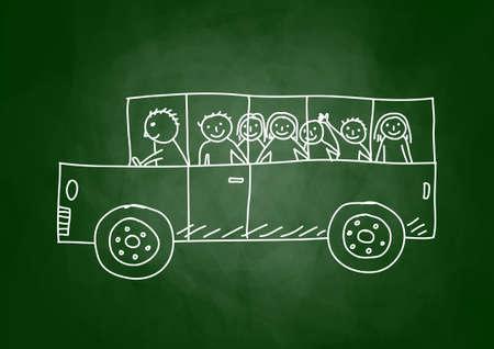 the trip:  Drawing of school bus on blackboard