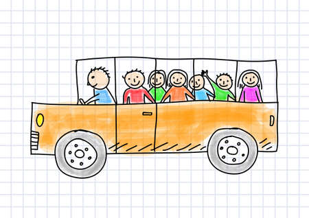 Drawing of school bus on squared paper