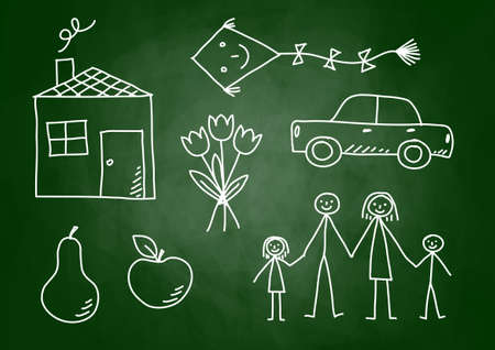 Drawings on blackboard Stock Vector - 14804496
