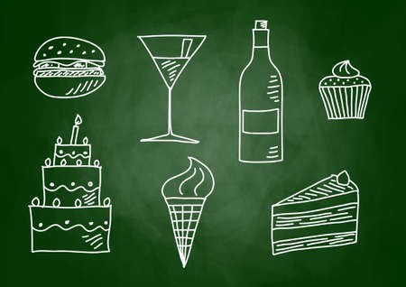 Drawing of food and drink on blackboard Vector