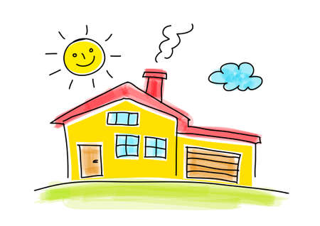 Drawing of house on white background Vector