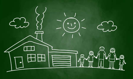 Drawing of house and family on blackboard Фото со стока - 14873273