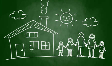 Drawing of house and family on blackboard