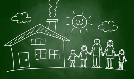 Dibujo de la casa y de la familia en la pizarra