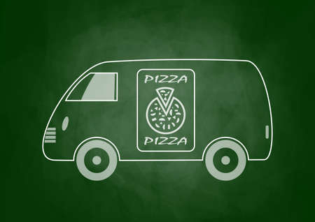 Drawing of delivery van on blackboard Vector