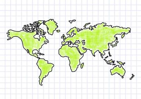 ecologic: Dibujo del mapa sobre papel cuadriculado Vectores