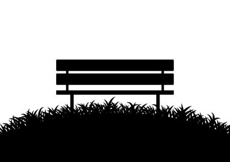 bench alone: Silhouette of bench