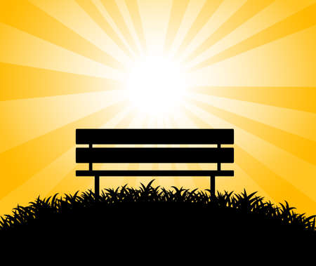 Silhouette of bench Stock Vector - 14873284