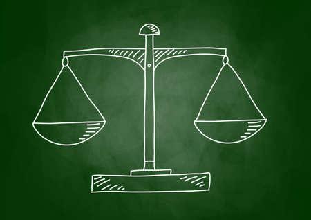 law school: Drawing of scale on blackboard