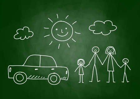 Drawing of family and car on blackboard Vector
