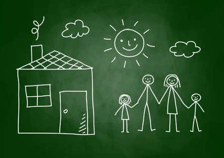 Zeichnung der Familie und Haus auf Tafel