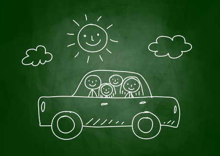 Drawing of car with family on blackboard Vector