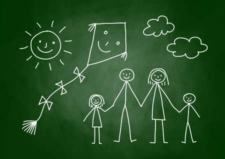 Drawing of family with kite on blackboard Illustration