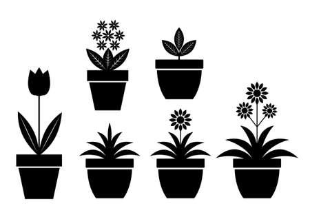 Flower icons on white background  Illustration