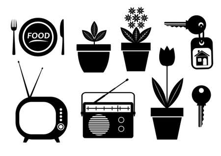 Black icons on white background  Vector
