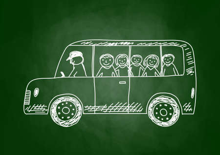 transport scolaire: Dessin d'un autobus scolaire sur tableau noir Illustration