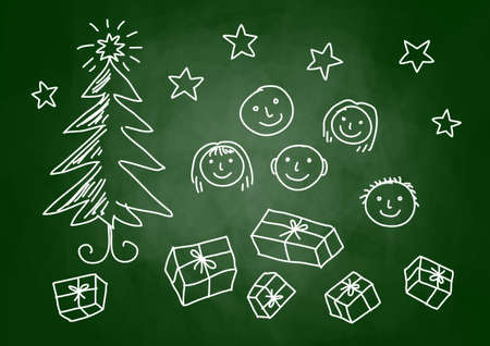 Christmas drawing on blackboard  Stock Vector - 15148502