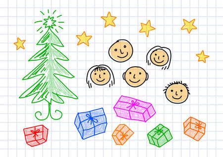 squared paper: Christmas drawing on squared paper