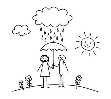 Woman and man in rain       Vector