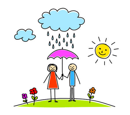 rain cartoon: Woman and man in rain