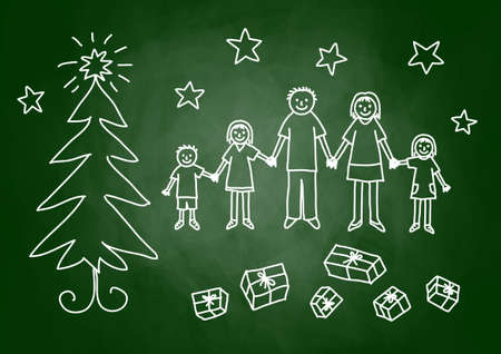 Christmas drawing on blackboard  Vector