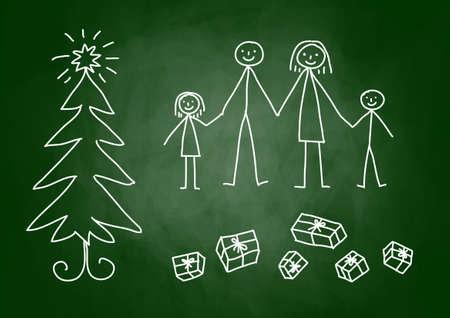 Christmas drawing on blackboard Stock Vector - 15274649