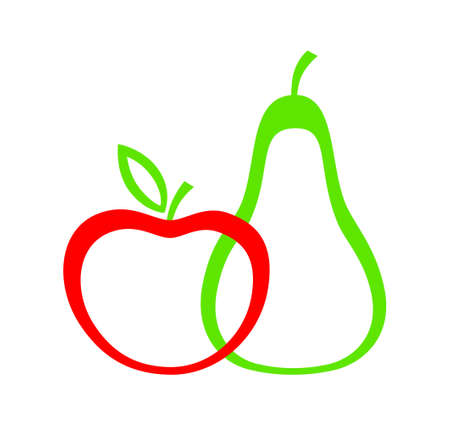 Apple and pear on white background