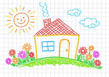 haus garten: Zeichnung des Hauses auf kariertem Papier