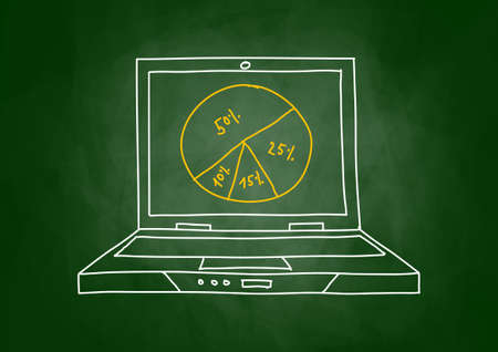 Drawing of laptop on blackboard Stock Vector - 15353178