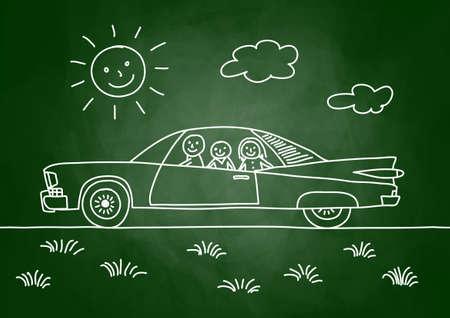 Drawing of car on blackboard Illustration