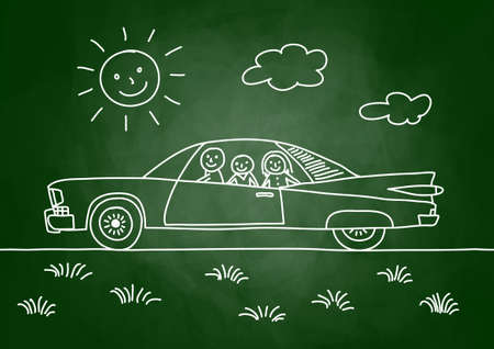 Drawing of car on blackboard Vector