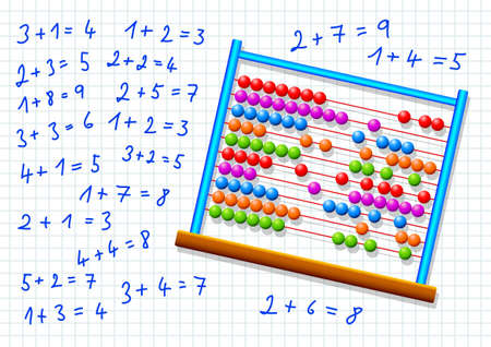 subtraction: Abacus on squared paper
