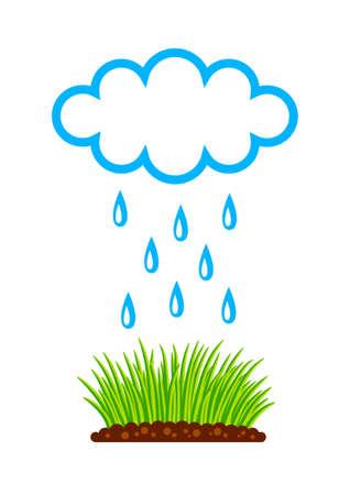 rainy season: Plants and cloud on white background