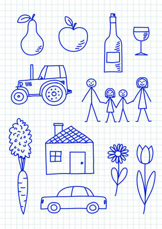 squared paper: Drawings on squared paper Illustration