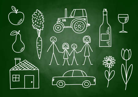 Drawings on blackboard Illustration
