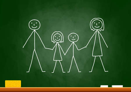 Drawing of family on blackboard Stock Vector - 15649414