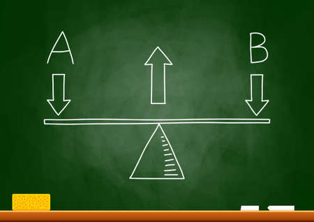 Drawing of scale on blackboard Stock Vector - 15649413