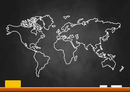 blackboard cartoon: Drawing of map on blackboard Illustration