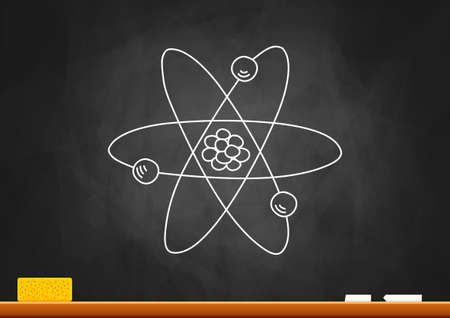Drawing of atom on blackboard Stock Vector - 15760944