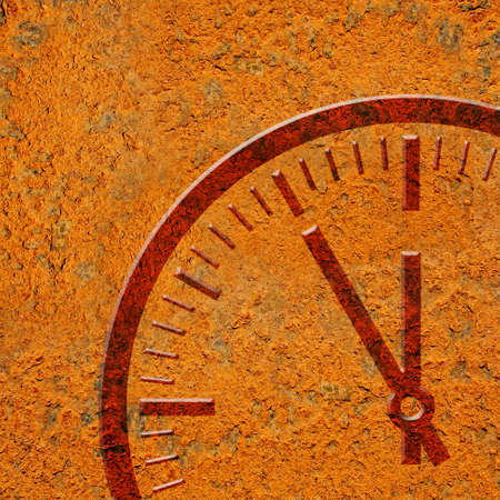Rusty background with clock Stock Photo - 15918968