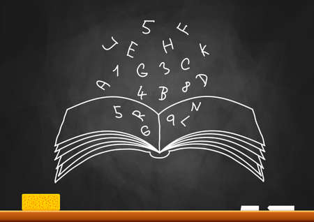 Drawing of book on blackboard Stock Vector - 16125374