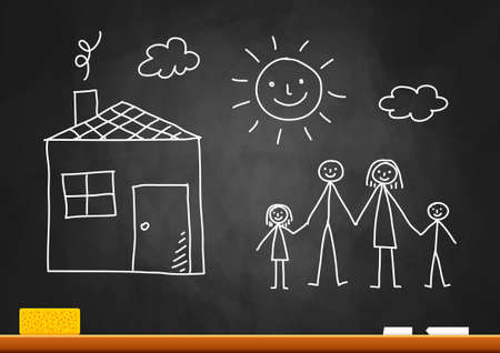 Drawing of family and house on blackboard Vector